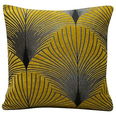 Art Deco Fan Cushion Luxury Velvet Chenille Silver & Ochre Geometric Design