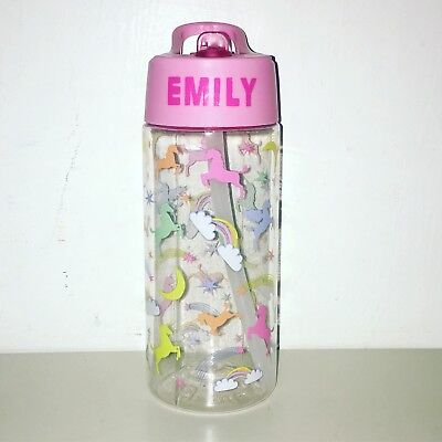 Personalised Water Bottle For Girls Unicorn Rainbows Pink