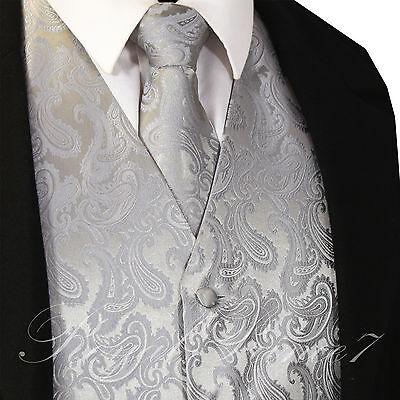Silver XS to 6XL Paisley Tuxedo Suit Dress Vest Waistcoat & Neck tie wedding](Silver Vest)