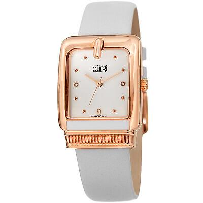 Women's Burgi BUR192WT Quartz Diamond Marker Rectangle White Leather Strap Watch