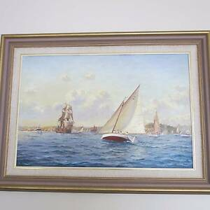 IAN HANSEN OIL PAINTING  - GAFFERS DAY SYDNEY HARBOUR Frankston South Frankston Area Preview