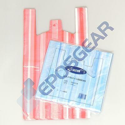 100 Cheap Candy Stripe Vest Plastic Carrier Bags