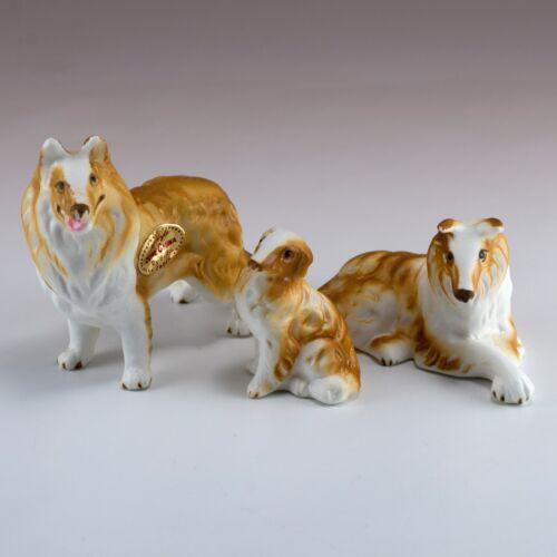 Vintage Miniature Bone China Set of 3 Collie Dog Figurines Made in Japan 1960