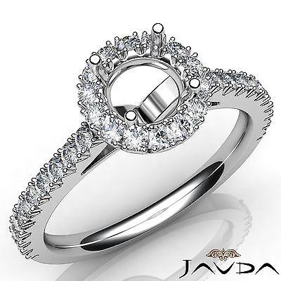 French Cut Pave Set Diamond Shiny Engagement Round Semi Mount Ring Platinum 1Ct