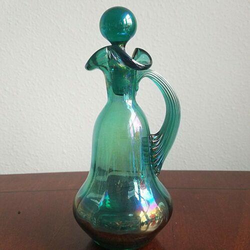 "GIBSON Art Glass 1999 Aqua Teal Carnival Iridescent 8"" CRUET w/ Ribbed Handle"