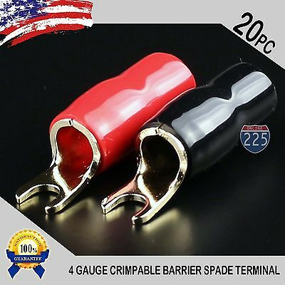 - 4 Gauge Gold Spade Fork Terminal 20 pack Wire Crimp Insulated 5/16 connector AWG