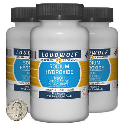 Sodium Hydroxide 1.9 Pounds 3 Bottles 99 Pure Food Grade Fine Powder
