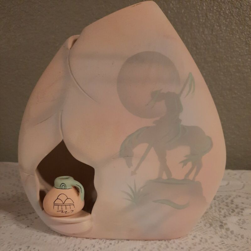 """Southwestern Pottery Vase Native American """"End Of The Trail"""" Signed Jiman D 93"""