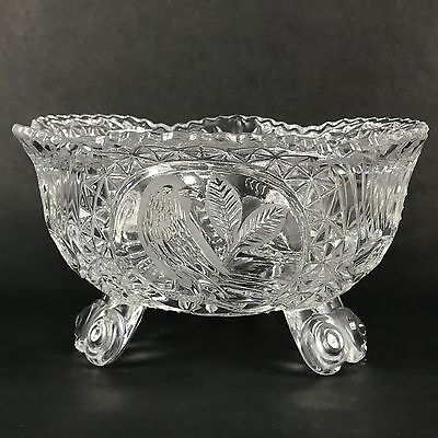 Crystal Cut Glass Etched Bird Console Bowl