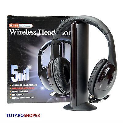 Cuffie Stereo Wireless 5 IN 1 Senza Fili WIFI Cuffia per Pc Tv Mp3 PREZZO PAZZO