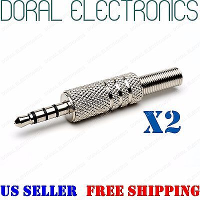 2pcs Silver 3.5mm 4 Pole Male Repair Headphone Plug Metal Audio Video 3.5 mm 1/8 - Metallic Silver Audio