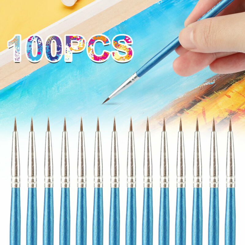 100Pcs Micro Extra Fine Detail Painting Brushes Drawing Watercolor Art Brush Set