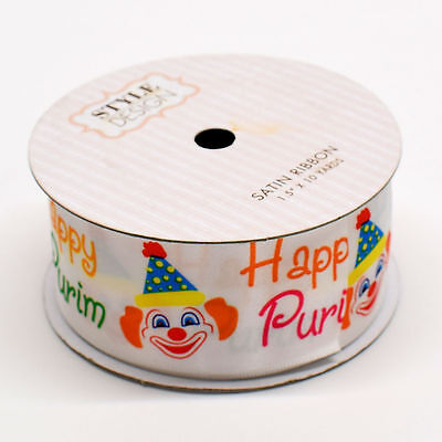 Happy Purim Gift Wrap Satin Ribbon, With Clown Design, Ideal For Mishloach Manot
