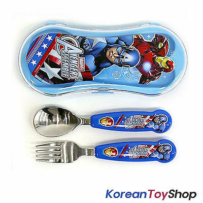 Marvel Avengers Character Stainless Steel Cute Spoon Fork Case Set, BPA Free