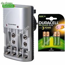 Lloytron Mains Battery Charger + 4 x Duracell AAA 750 mAh Rechargeable Batteries