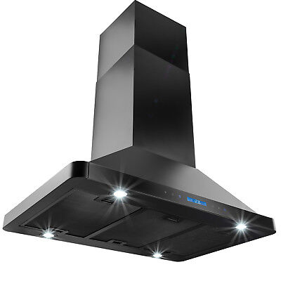 """36"""" Island Mount BLACK Stainless Steel Range Hood Remote Dual Touch Stove Vent"""