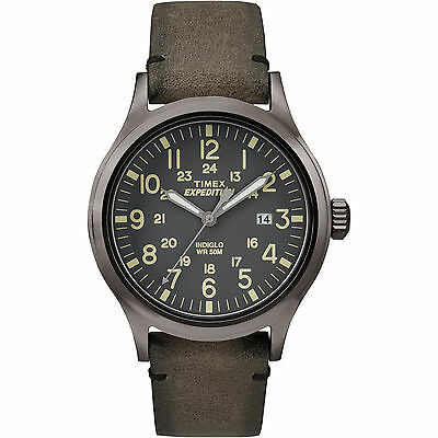 "Timex TW4B01700, Men's ""Expedition"" Brown Leather Watch, Scout, TW4B017009J"