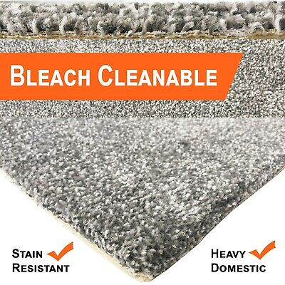Bleach Cleanable Soft Saxony SILVER Grey Carpet Hessian Back FAST FREE DELIVERY