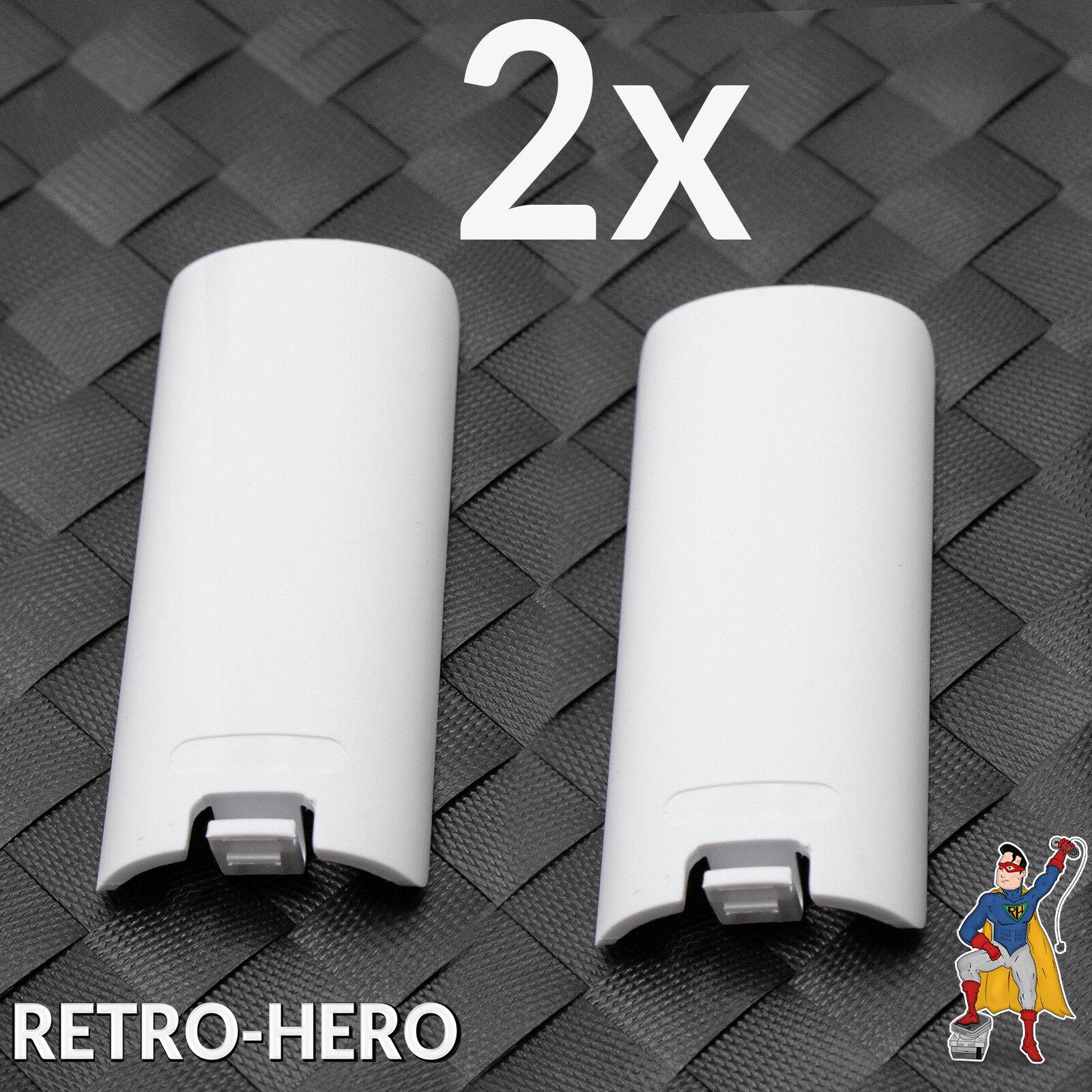 2x Wii Batteriefach Deckel Fach Abdeckung Akku Klappe Remote Controller Weiß Neu