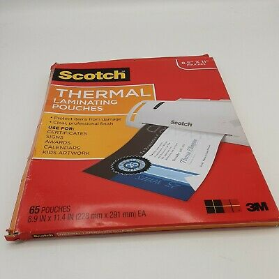 Scotch Thermal Laminating Pouches Tp3854-65 8.5x11 65 Pouches