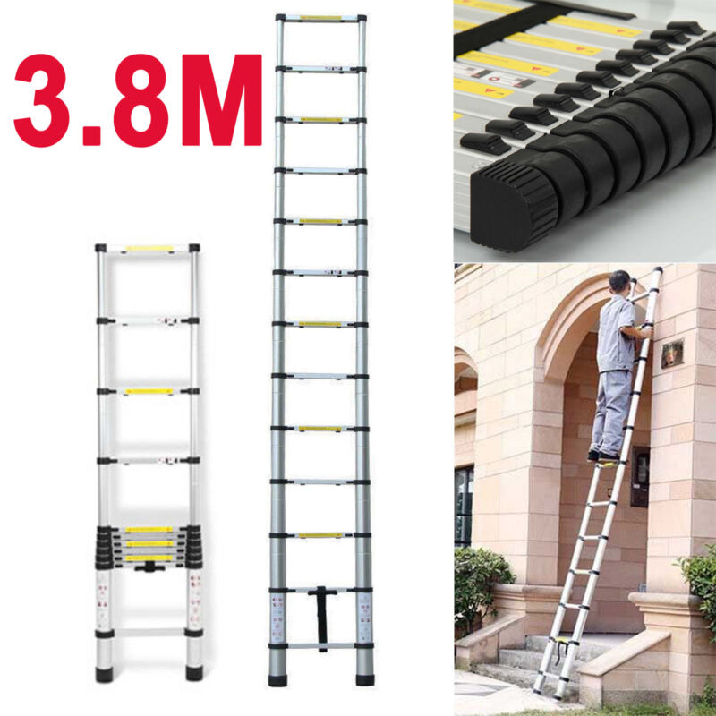 12.5FT 3.8M Professional Extendable Anti-Pinch Aluminum Alloy Telescoping Ladder