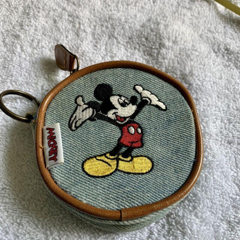 Vintage Mickey Mouse Change Purse Denim  Zipper
