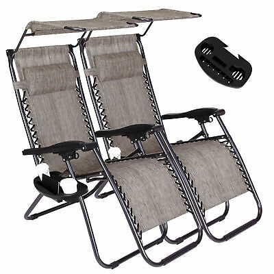 Miraculous 2 Zero Gravity Recline Chairs Folding Garden Camping Beach Sun Lounger W Canopy Pabps2019 Chair Design Images Pabps2019Com