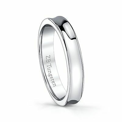Tungsten wedding band high polished concave design comfort fit 4mm -