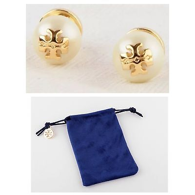 Stud Pouch - AUTHENTIC TORY BURCH 'EVIE' CRYSTAL IVORY PEARL STUD EARRINGS W/TB POUCH NEW!