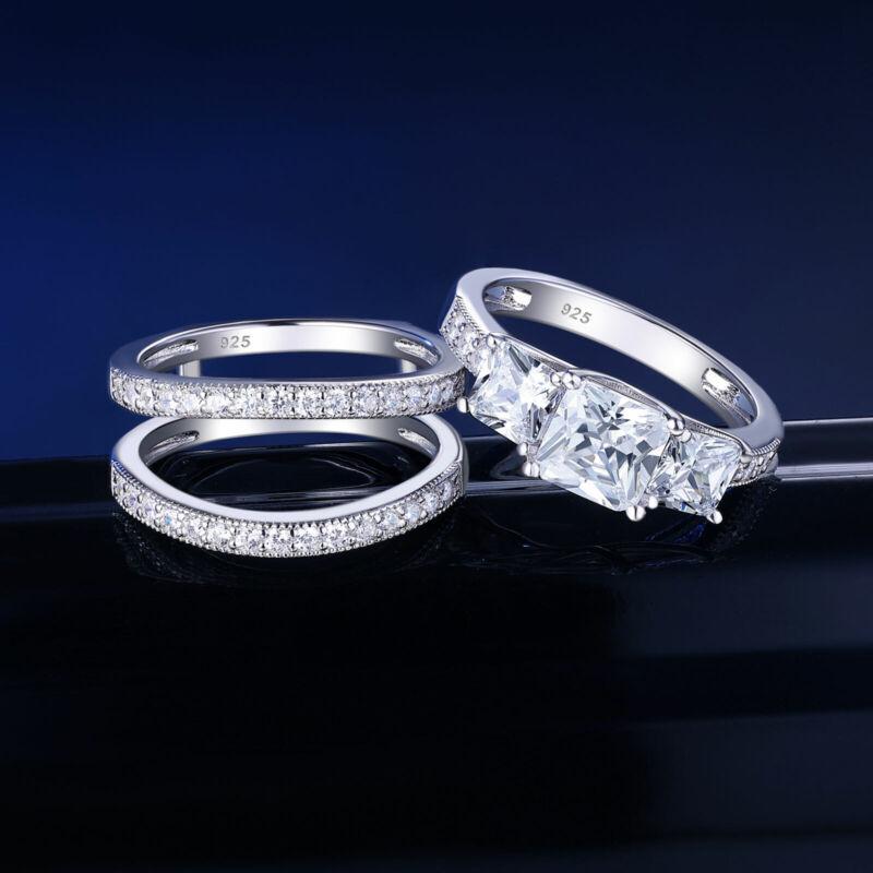 Three Stones Princess Aaaaa Cz Wedding Ring Set Band Enhancers Sterling Silver