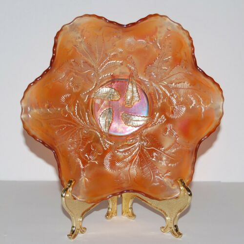"Antique Fenton 8.75"" Thistle Marigold Carnival Glass Ruffled Bowl Iridescent"