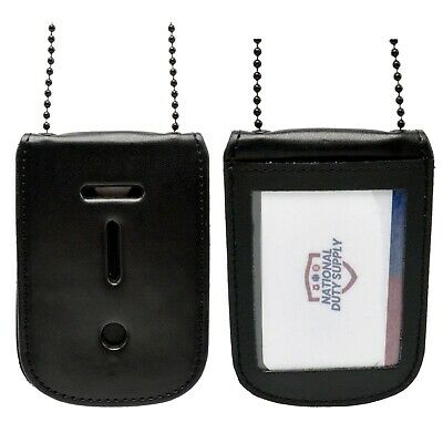 """5/"""" x 3 1//8/"""" x 1//2/"""" Universal Leather Badge and ID Holder Lanyard LAW ENFORCEMENT"""