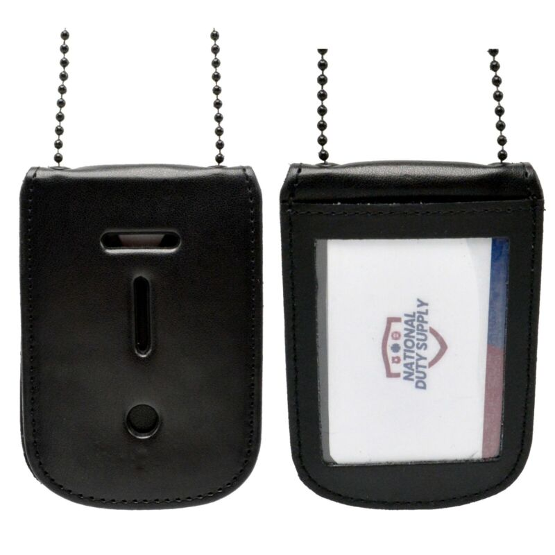 Cobra Tufskin Universal Badge & ID Holder Black Neck Chain Leather Police CWP