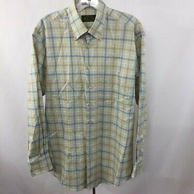 ORVIS Signature Mens M Loose fit Beige Blue Check Oxford Dress Shirt 100% Cotton Loose Fit Oxford