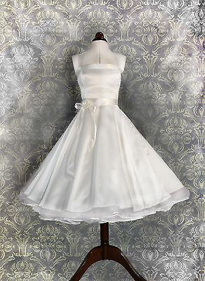 Brautkleid Hochzeitskleid kurzes 50er Petticoat Standesamt kleid weiß abendkleid