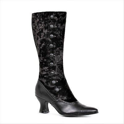 Black Velvet Steampunk Antebellum Costume Western Spats Button Boots Womans size