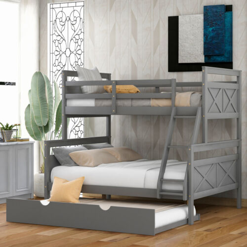 Merax Twin Over Full Bunk Bed with Ladder, Twin Size Trundle, White/Gray