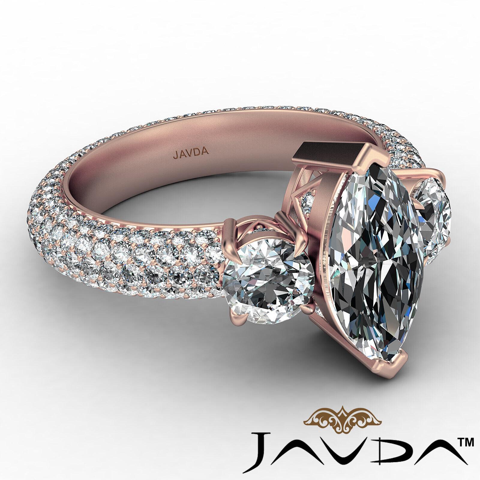 Marquise Diamond Engagement Pave Set Ring GIA K Color & VVS2 clarity 3.05 ctw 8