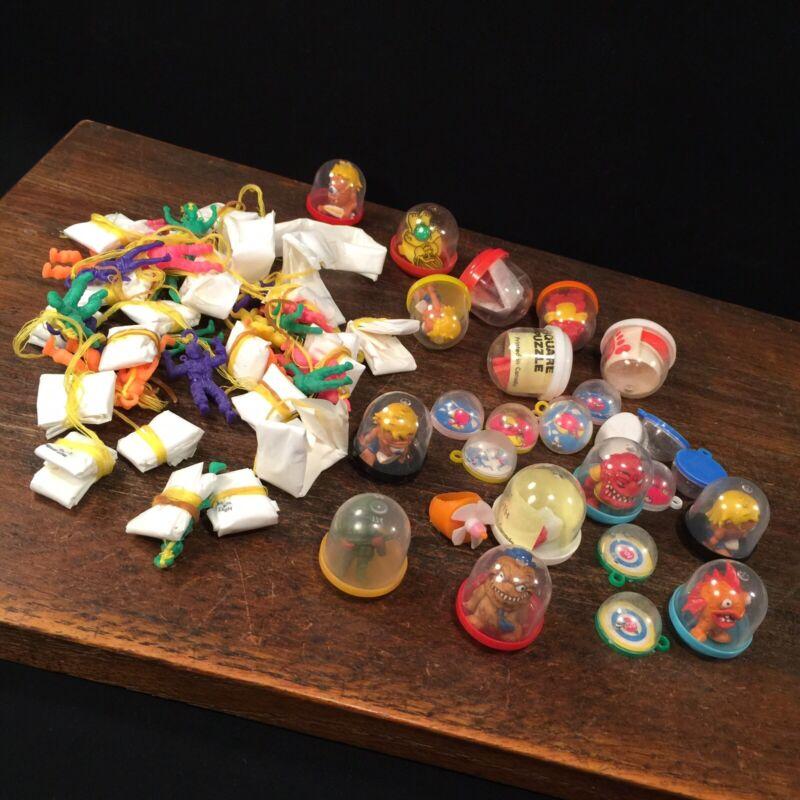 Vintage Toy Lot Gumball Vending Machine Charms Prizes Premiums Parachutes Games