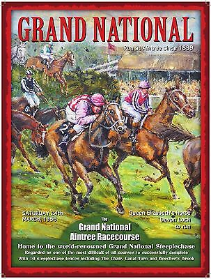 Grand National, Racecourse, Horse Racing, Jockey, Small Metal Tin Sign, Picture