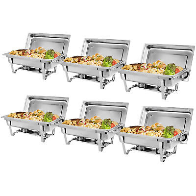 8 Qt Stainless Steel 6 Pack Full Size Chafer Dish Water Food Pan And Fuel Holder