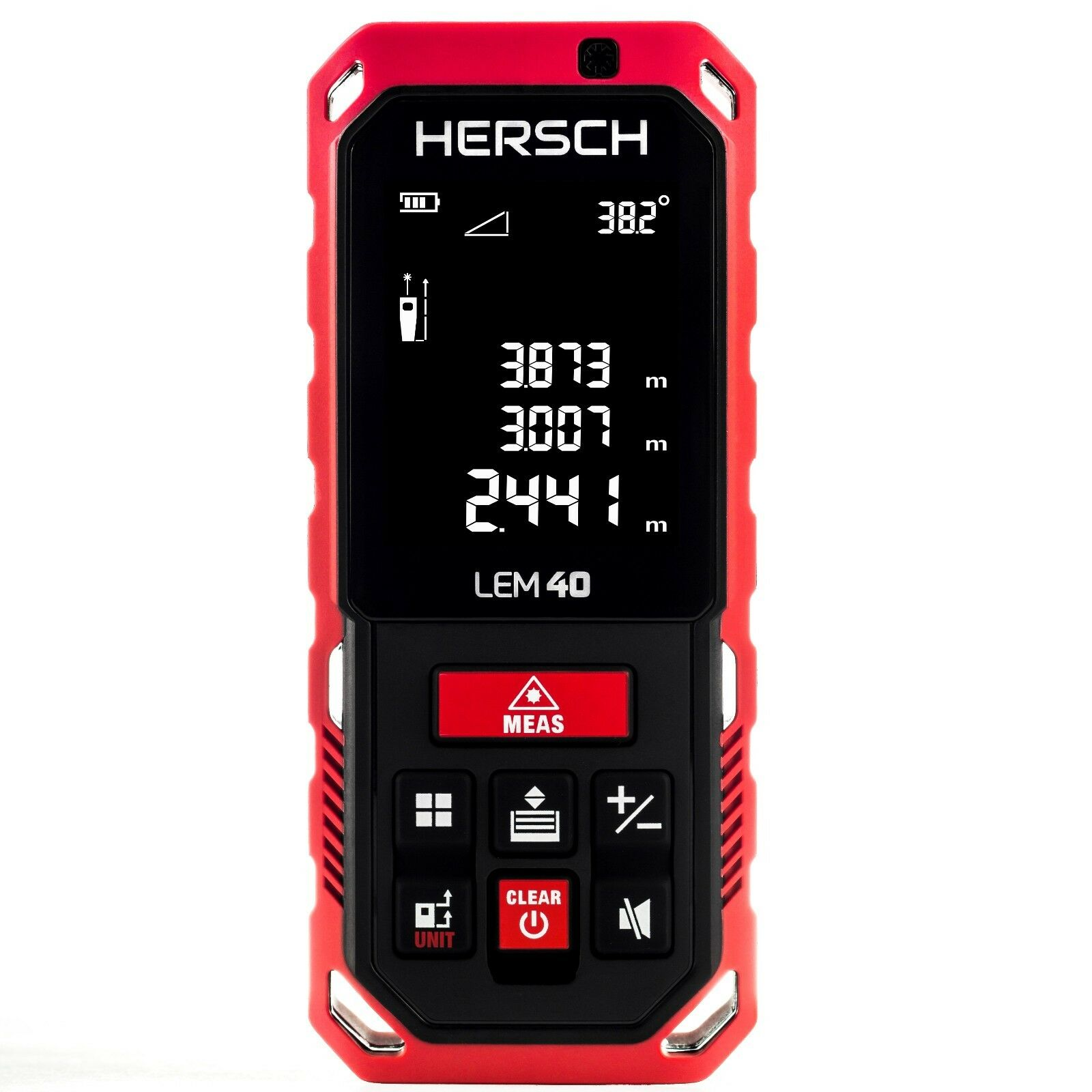 HERSCH Laser Entfernungsmesser LEM 40 mit Neigungssensor,Ni-MH 800mAh Akkus,IP65