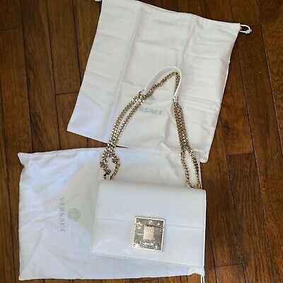 Women's Versace Leather White Gold Chain Strap Shoulder Bag Purse NWT