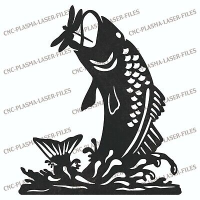 Fish Fishing Dxf Sign Plasma Laser Waterjet Router Plotter Cut Vector Cnc File