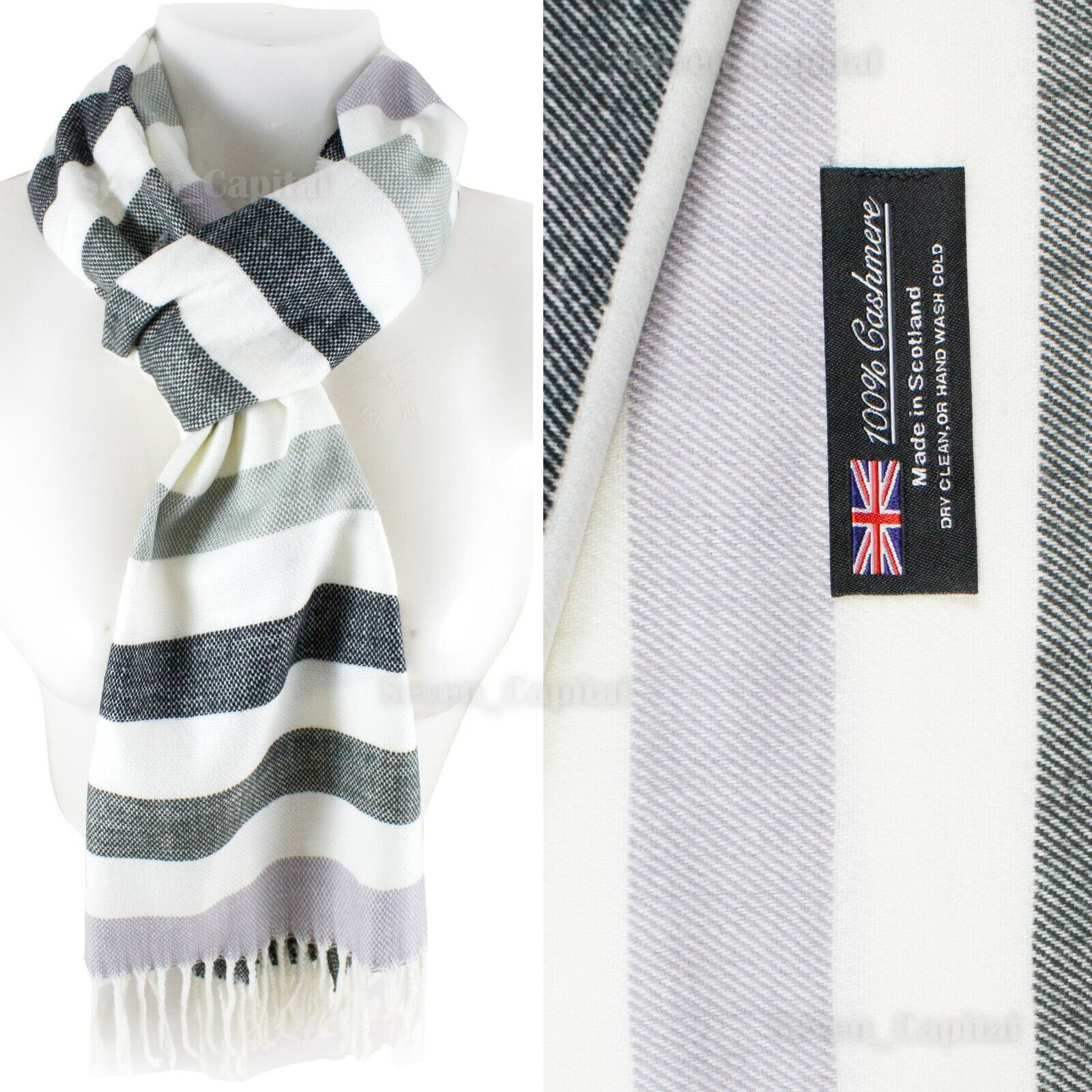 Mens Womens Winter Warm SCOTLAND Made 100% CASHMERE Scarf Scarves Plaid Wool 27. Plaid: Black White Strip