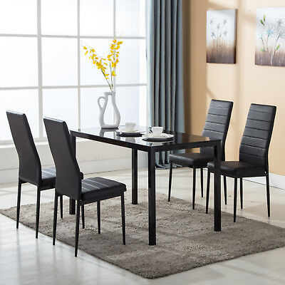 5 PCS Dining Table Set 4 Chairs Glass Metal Kitchen Room Breakfast Furniture