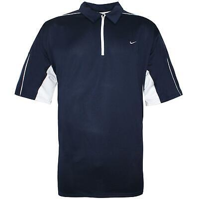 Nike Mens Polo T-Shirt Tall Zip Up Top Navy 142672 451
