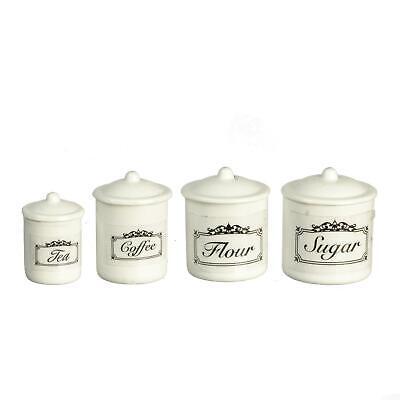 Dolls House White Canister Storage Jar Set 4 Miniature Kitchen Accessory 1:12