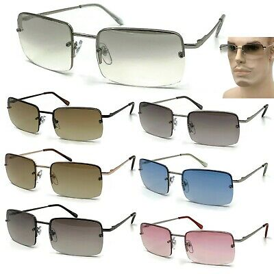 Rimless Rectangular Sunglasses Clear Minimalist Eyewear Small Spring Hinge (Clear Sunglasses For Men)