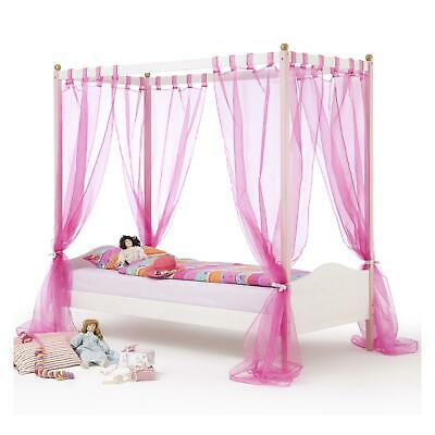 Massive Kiefer Himmelbett (Himmelbett Kinderbett Mädchenbett 90x200 cm Kiefer massiv rosa/weiss lackiert)